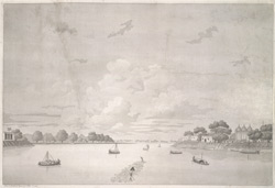 'View of Moorshedabad [Murshidabad] from Moradbaug'. Aquatint, drawn and engraved by James Moffat, published Calcutta 1804.